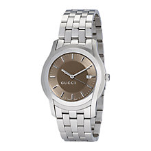 Buy Gucci YA055215 Men's G-Class Brown Round Dial Steel Bracelet Watch, Silver Online at johnlewis.com