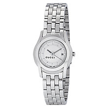 Buy Gucci YA055519 Women's G-Class White Round Dial Steel Bracelet Watch, Silver Online at johnlewis.com