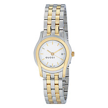 Buy Gucci YA055520 Women's G-Class White Round Dial Two Tone Steel Bracelet Watch, Silver/Gold Online at johnlewis.com