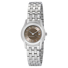 Buy Gucci YA055524 Women's G-Class Brown Round Dial Steel Bracelet Watch, Silver Online at johnlewis.com
