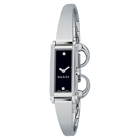 Buy Gucci YA109518 Women's G-Line Black Oblong Diamond Dial Steel Bangle Watch, Silver Online at johnlewis.com