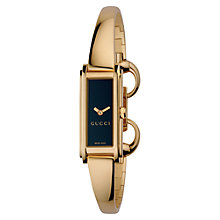 Buy Gucci YA109524 Women's G-Line Black Oblong Diamond Dial Steel Bangle Watch, Rose Gold Online at johnlewis.com