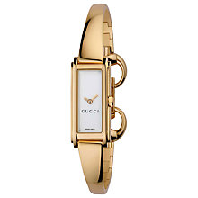 Buy Gucci YA109525 Women's G-Line White Oblong Diamond Dial Steel Bangle Watch, Rose Gold Online at johnlewis.com