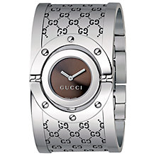 Buy Gucci YA112401 Women's Twirl Stainless Steel Logo Cuff Watch, Silver/Brown Online at johnlewis.com