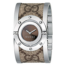 Buy Gucci YA112425 Women's Twirl Brown Dial Fabric Steel Cuff Watch, Silver/Brown Online at johnlewis.com