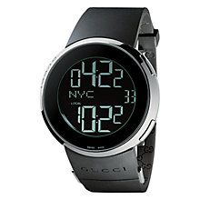Buy Gucci YA114202 Men's I-Gucci Digital Rubber Strap Watch, Black Online at johnlewis.com