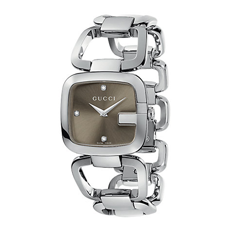 Buy Gucci YA125401 Women's G-Gucci Brown Square Diamond Set Dial Bracelet Watch, Silver Online at johnlewis.com