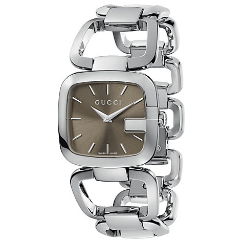 Buy Gucci YA125402 Women's G-Gucci Brown Square Dial Bracelet Watch, Silver Online at johnlewis.com