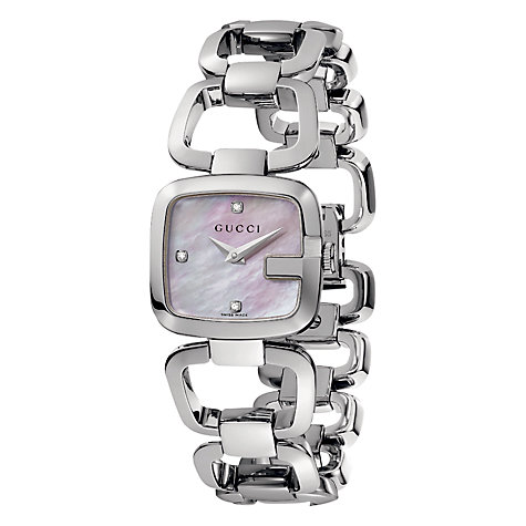 Buy Gucci YA125502 Women's G-Gucci Pink Mother of Pearl Square Diamond Dial Bracelet Watch, Silver Online at johnlewis.com