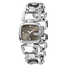 Buy Gucci YA125503 Women's G-Gucci Brown Square Diamond Set Dial Bracelet Watch, Silver Online at johnlewis.com