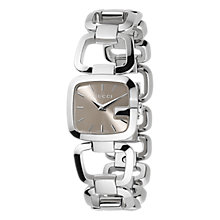 Buy Gucci YA125507 Women's G-Gucci Brown Square Dial Bracelet Watch, Silver Online at johnlewis.com