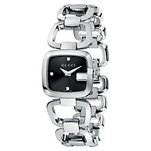 Buy Gucci YA125509 Women's G-Gucci Black Square Diamond Set Dial Bracelet Watch, Silver Online at johnlewis.com
