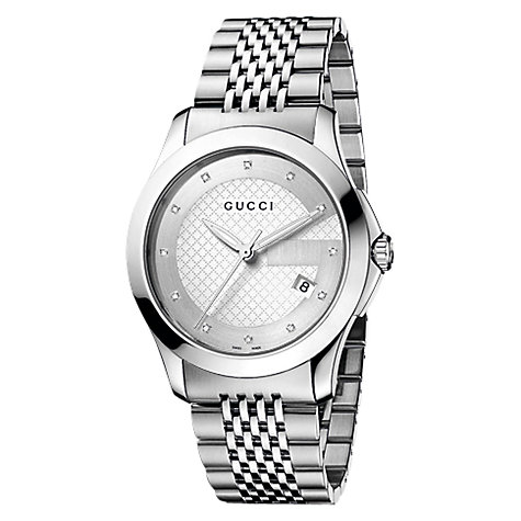 Buy Gucci YA126404 Men's G-Timeless Diamond Set Steel Bracelet Watch, Silver Online at johnlewis.com
