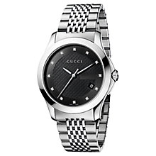 Buy Gucci YA126405 Men's G-Timeless Black Diamond Set Dial Steel Bracelet Watch, Silver Online at johnlewis.com