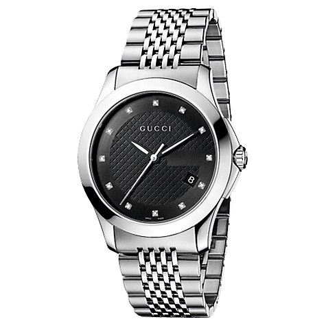 Buy Gucci Men's G-Timeless Diamond Set Steel Bracelet Watch Online at johnlewis.com
