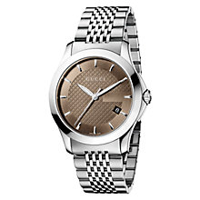 Buy Gucci YA126406 Men's G-Timeless Brown Dial Steel Bracelet Watch, Silver Online at johnlewis.com