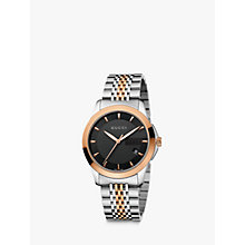 Buy Gucci YA126410 Men's G-Timeless Black Dial Steel Bracelet Watch, Silver/Rose Gold Online at johnlewis.com