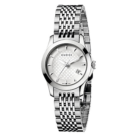 Buy Gucci YA126501 Women's G-Timeless Silver Dial Steel Bracelet Watch, Silver Online at johnlewis.com