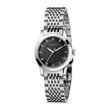 Buy Gucci YA126502 Women's G-Timeless Black Dial Steel Bracelet Watch, Silver Online at johnlewis.com