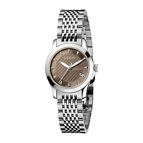 Buy Gucci YA126503 Women's G-Timeless Brown Dial Steel Bracelet Watch, Silver Online at johnlewis.com