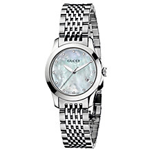 Buy Gucci YA126504 Women's G-Timeless Pale Blue Mother of Pear Dial Steel Bracelet Watch, Silver Online at johnlewis.com