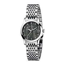 Buy Gucci YA126505 Women's G-Timeless Black Mother of Pear Dial Steel Bracelet Watch, Silver Online at johnlewis.com