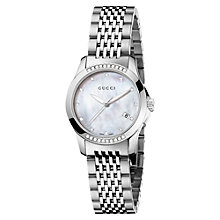 Buy Gucci YA126510 Women's G-Timeless Mother of Pearl Dial Diamond Set Bezel Bracelet Watch, Silver Online at johnlewis.com