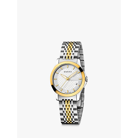 Buy Gucci YA126511 Women's G-Timeless White Dial Two Tone Steel Bracelet Watch, Silver/Gold Online at johnlewis.com