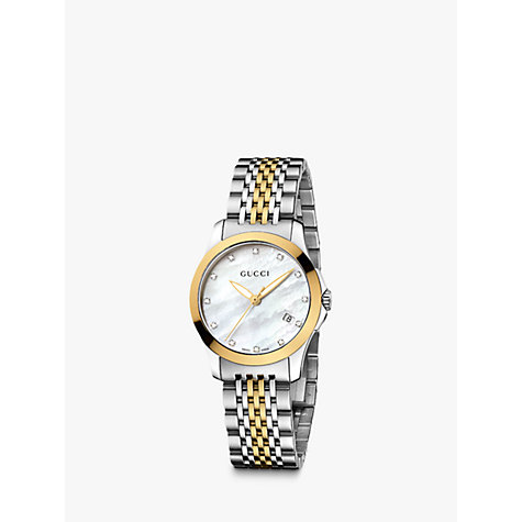Buy Gucci Women's G-Timeless Mother of Pearl Diamond Two Tone Bracelet Strap Watch Online at johnlewis.com