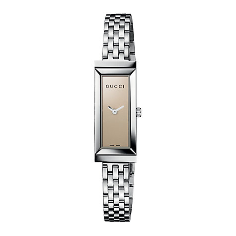 Buy Gucci YA127501 Women's G-Frame Brown Rectangular Dial Steel Bracelet Watch, Silver Online at johnlewis.com