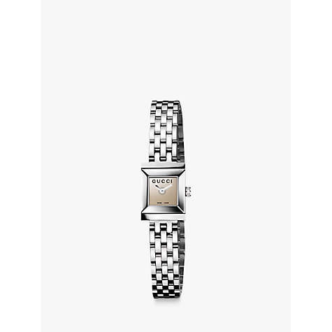 Buy Gucci YA128501 Women's G-Frame Brown Square Dial Steel Bracelet Watch, Silver Online at johnlewis.com