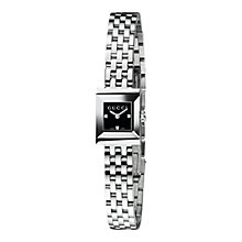 Buy Gucci YA128507 Women's G-Frame Black Square Dial Steel Bracelet Watch, Silver Online at johnlewis.com