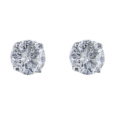EWA 18ct White Gold 0.80ct Diamond 4 Claw Stud Earrings, White Gold