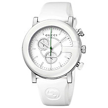 Buy Gucci YA101346 Men's G-Chrono Rubber Strap Chronograph Watch, White Online at johnlewis.com
