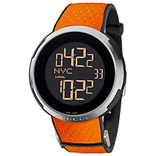 Buy Gucci Men's I-Gucci Digital Display Perforated Rubber Strap Watch Online at johnlewis.com