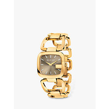 Buy Gucci YA125408 Women's G-Gucci Gold Plated Bracelet Strap Watch, Gold/Taupe Online at johnlewis.com