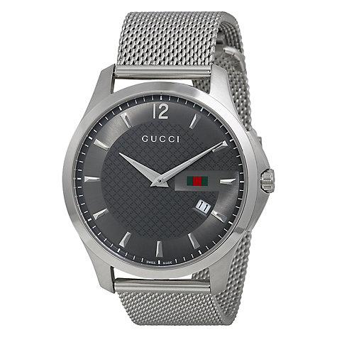 Buy Gucci YA126301 G-Timeless Men's Mesh Strap Watch, Silver Online at johnlewis.com