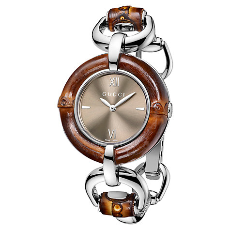 Buy Gucci Women's Brushed Dial Bamboo Trim Bracelet Strap Watch Online at johnlewis.com
