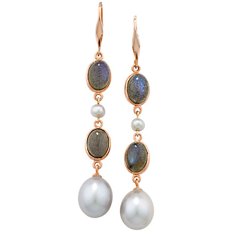Buy London Road Burlington Rose Gold Labradorite and Pearl Drop Earrings, Grey Online at johnlewis.com