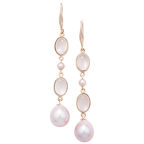 Buy London Road 9ct Rose Quartz and Pearl Burlington Drop Earrings Online at johnlewis.com