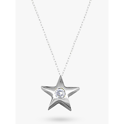 EWA 9ct White Gold Star Diamond Set Pendant Necklace