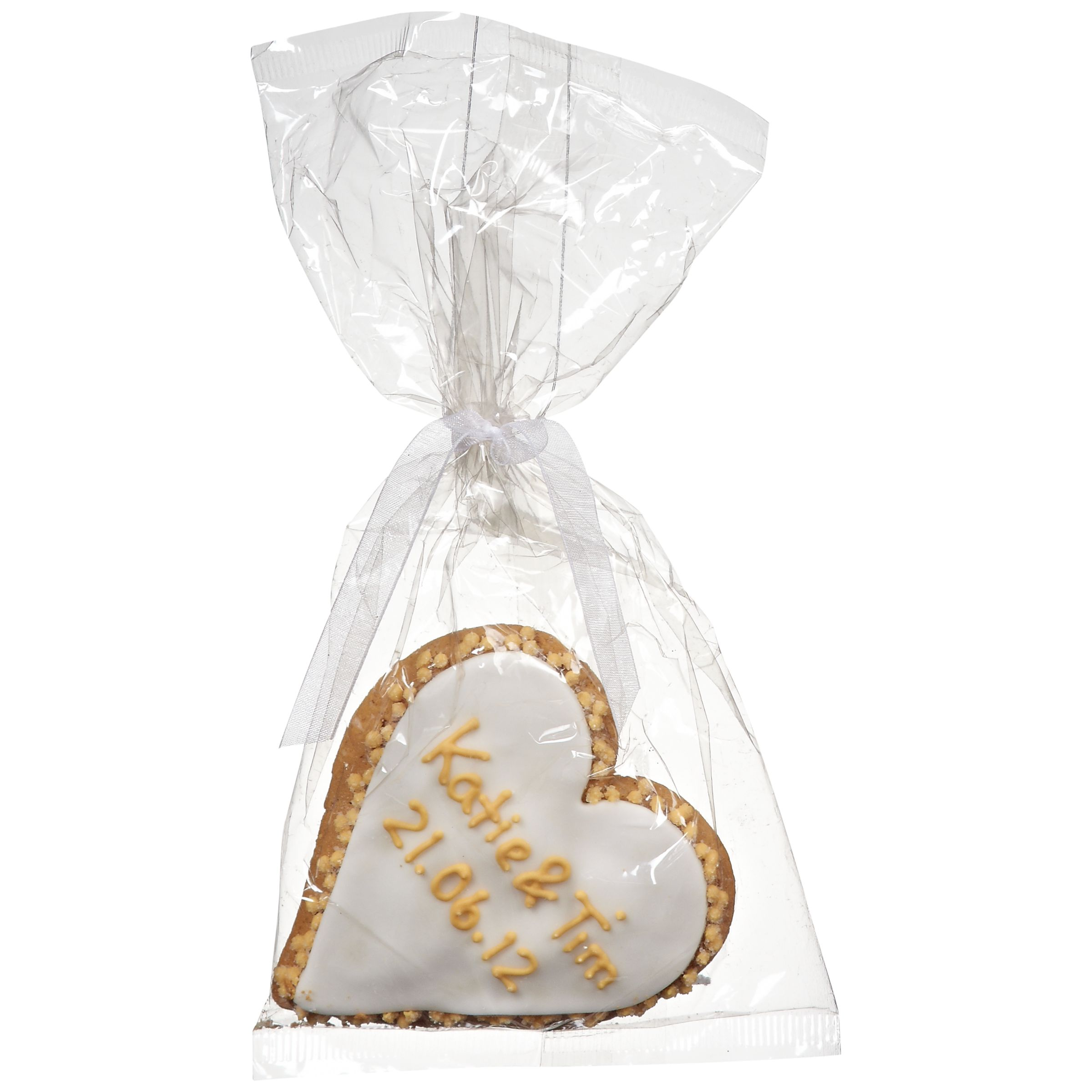 Image on Food Image on Food Personalised Wedding Heart Gingerbread, Gold, Pack of 24
