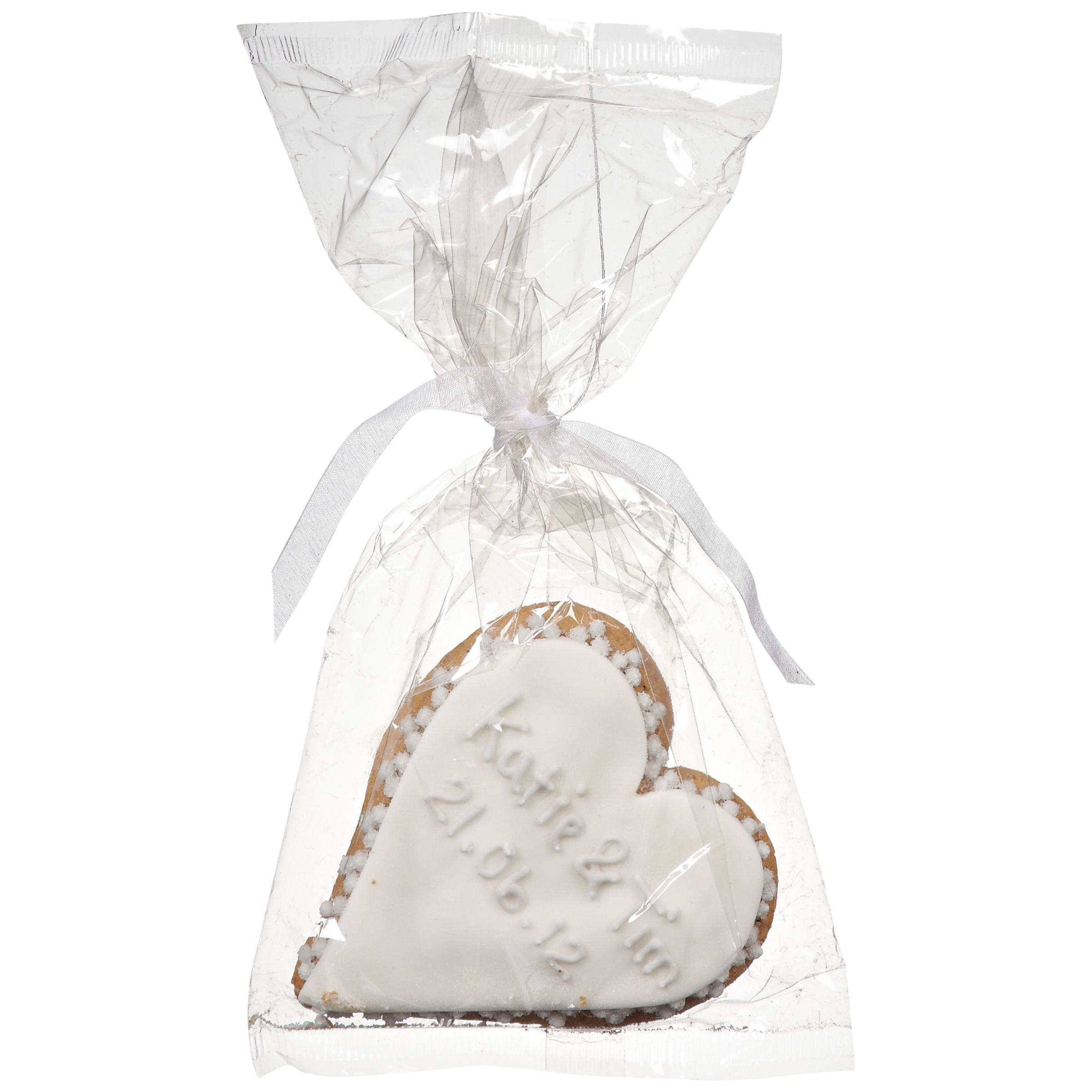 Image on Food Image on Food Personalised Wedding Heart Gingerbread, Silver, Pack of 24