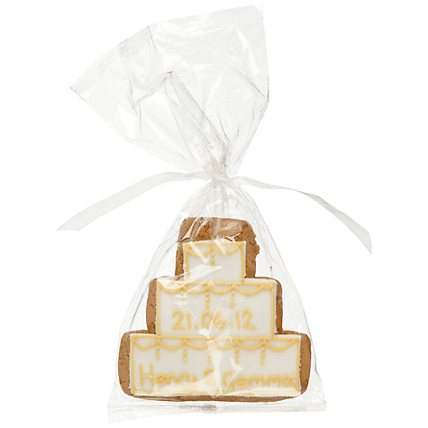 Buy Image on Food Personalised Wedding Cake Gingerbread, Gold, Pack of 24 Online at johnlewis.com