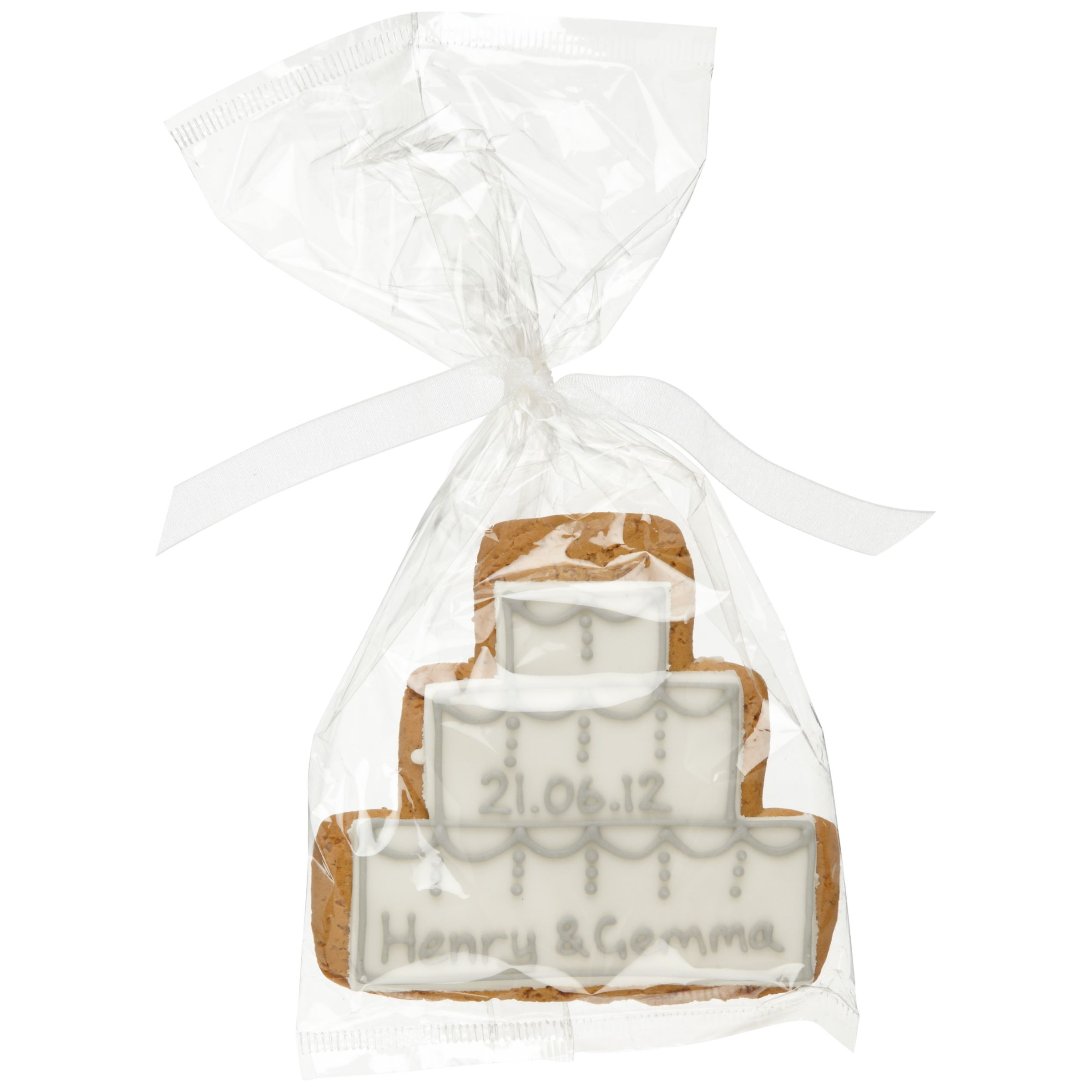 Image on Food Image on Food Personalised Cake Gingerbread Biscuit, Silver, Pack of 24