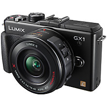 "Buy Panasonic Lumix DMC-GX1 Compact System Camera with 14-42mm X-Zoom Lens, 16MP, 3"" LCD Screen, Black Online at johnlewis.com"