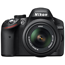 "Buy Nikon D3200 Digital SLR Camera with 18-55mm & 70-300mm Lens, HD 1080p, 24MP, 3x Optical Zoom, 3"" LCD Screen Online at johnlewis.com"