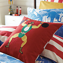 Buy Joules Strongman Circus Cushion, Red Multi Online at johnlewis.com