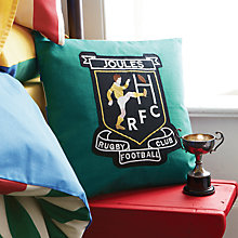 Buy Joules Rugby Badge Cushion, Jade Online at johnlewis.com