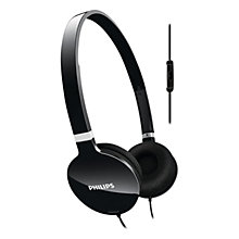 Buy Philips SHL1705 Lightweight On-Ear Headphones, Black Online at johnlewis.com